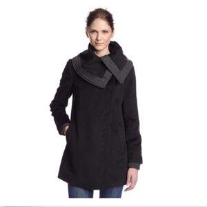 Women's Black Gray Knit Collar Trim Coat Size M
